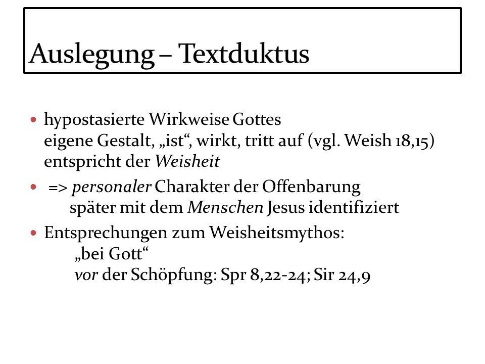 Auslegung – Textduktus