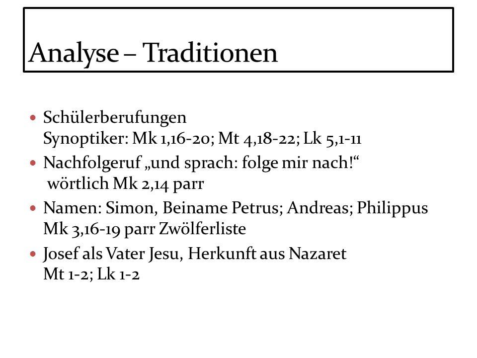 Analyse – Traditionen Schülerberufungen Synoptiker: Mk 1,16-20; Mt 4,18-22; Lk 5,1-11.