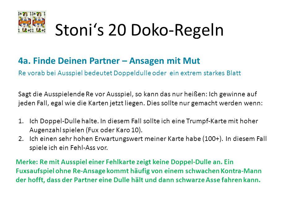 Stoni's 20 Doko-Regeln 4a. Finde Deinen Partner – Ansagen mit Mut