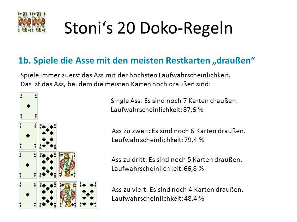 """Stoni's 20 Doko-Regeln 1b. Spiele die Asse mit den meisten Restkarten """"draußen"""