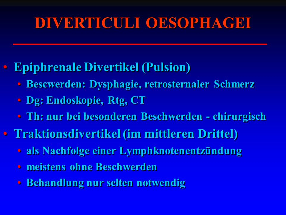 DIVERTICULI OESOPHAGEI