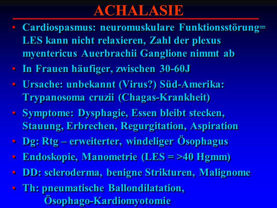 ACHALASIE Cardiospasmus: neuromuskulare Funktionsstörung= LES kann nicht relaxieren, Zahl der plexus myentericus Auerbrachii Ganglione nimmt ab.