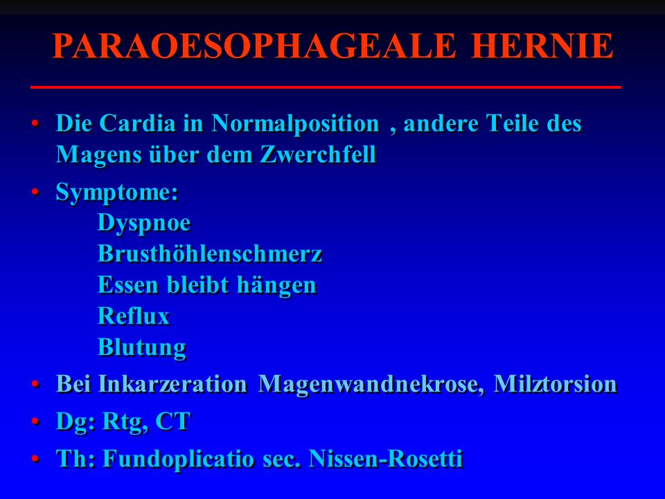 PARAOESOPHAGEALE HERNIE