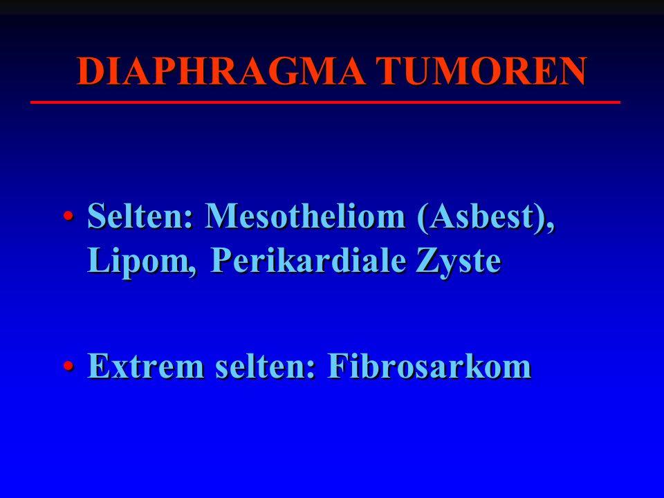DIAPHRAGMA TUMOREN Selten: Mesotheliom (Asbest), Lipom, Perikardiale Zyste.