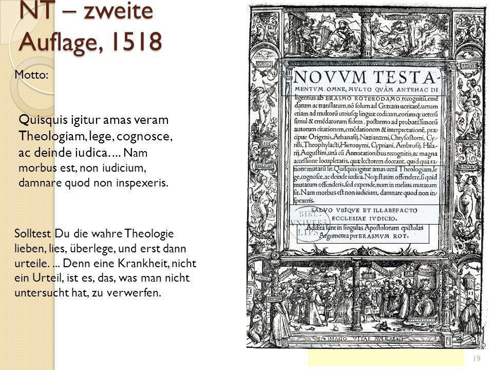 NT – zweite Auflage, 1518 Motto: