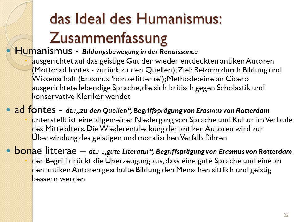 das Ideal des Humanismus: Zusammenfassung