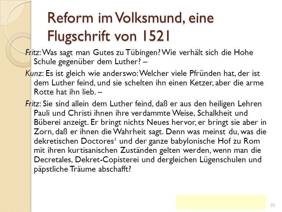 Reform im Volksmund, eine Flugschrift von 1521