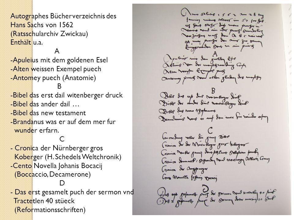 Autographes Bücherverzeichnis des
