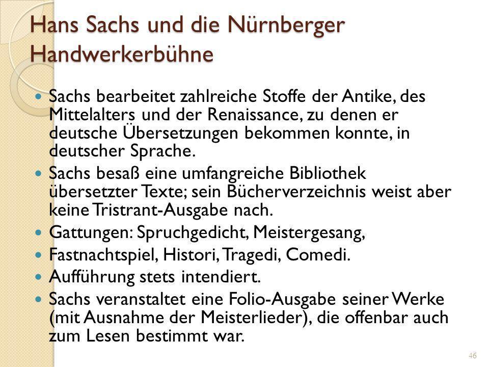 Hans Sachs und die Nürnberger Handwerkerbühne