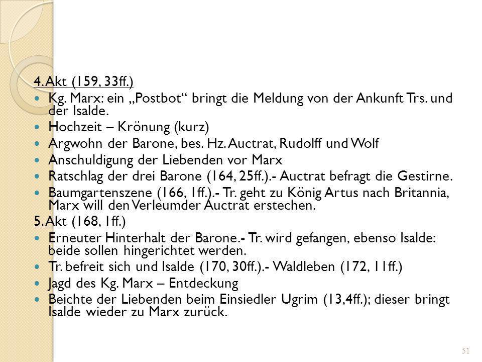 """4. Akt (159, 33ff.) Kg. Marx: ein """"Postbot bringt die Meldung von der Ankunft Trs. und der Isalde."""