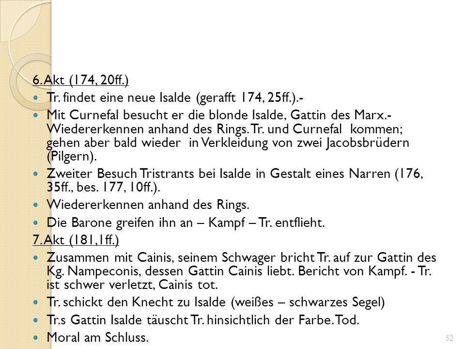 6. Akt (174, 20ff.) Tr. findet eine neue Isalde (gerafft 174, 25ff.).-