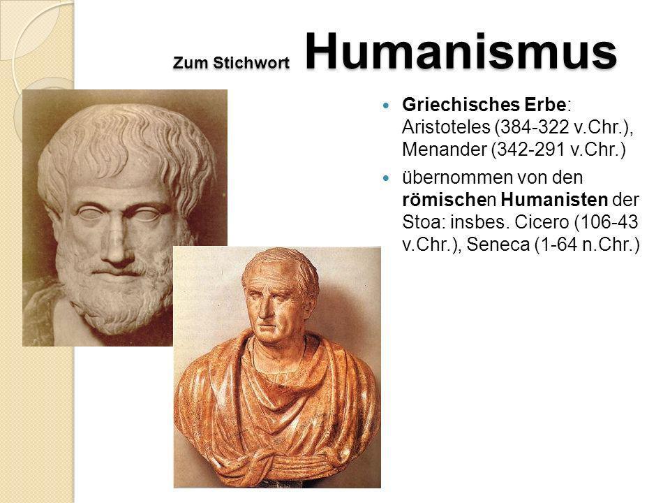Zum Stichwort Humanismus