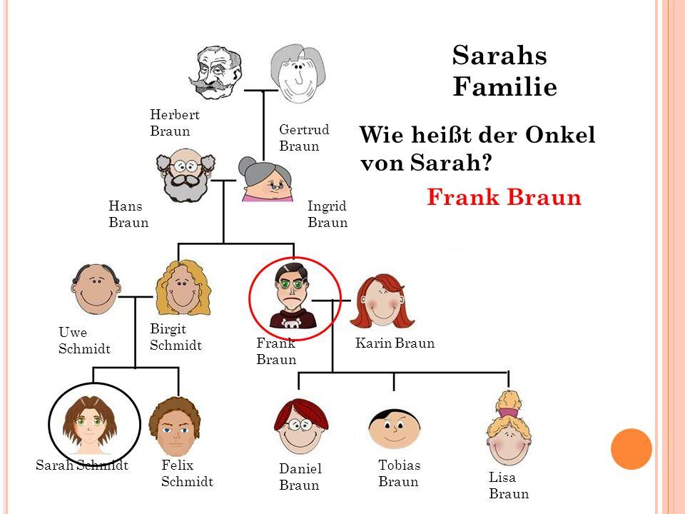 Sarahs Familie Wie heißt der Onkel von Sarah Frank Braun
