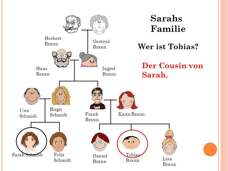 Sarahs Familie Wer ist Tobias Der Cousin von Sarah. Herbert Braun