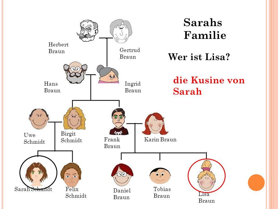 Sarahs Familie Wer ist Lisa die Kusine von Sarah Herbert Braun