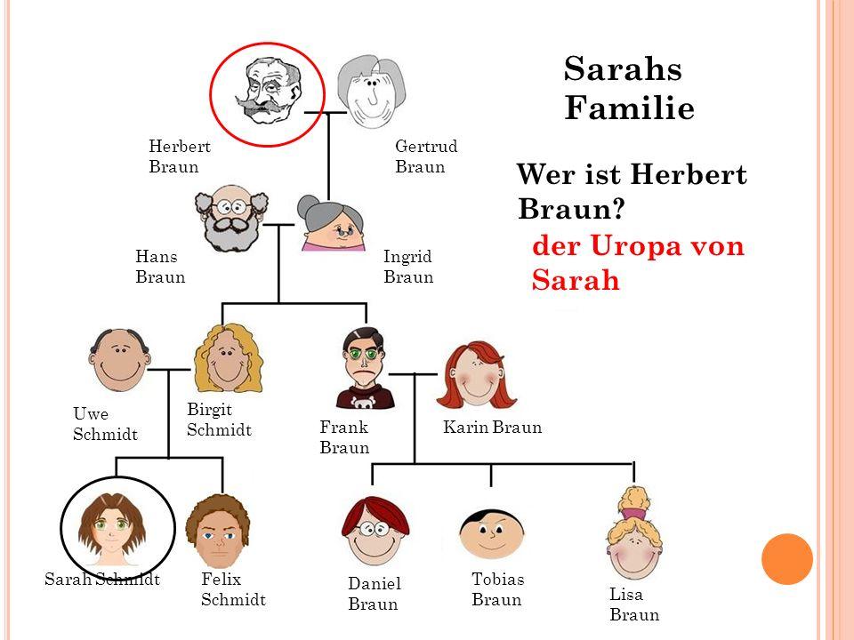 Sarahs Familie Wer ist Herbert Braun der Uropa von Sarah