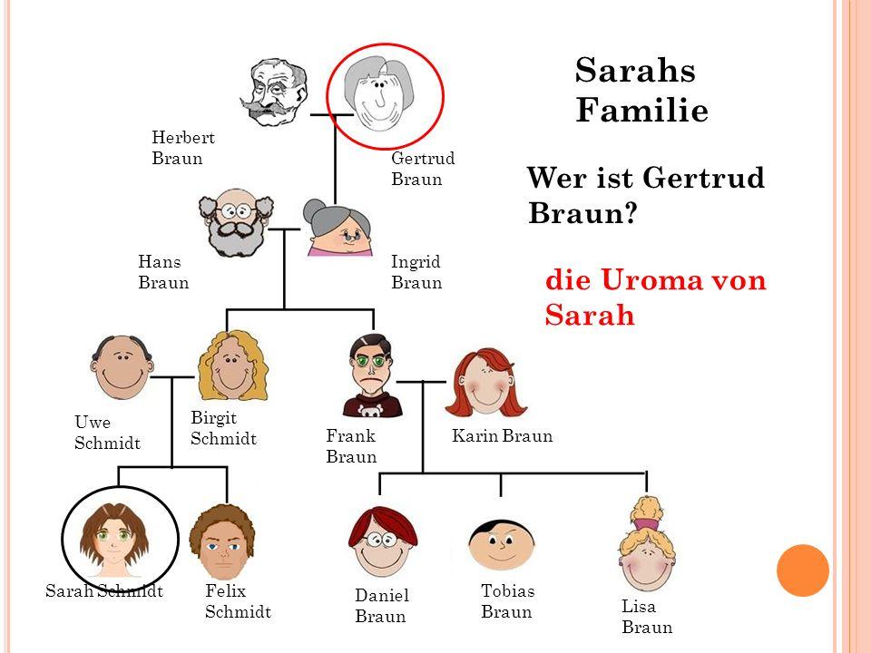 Sarahs Familie Wer ist Gertrud Braun die Uroma von Sarah