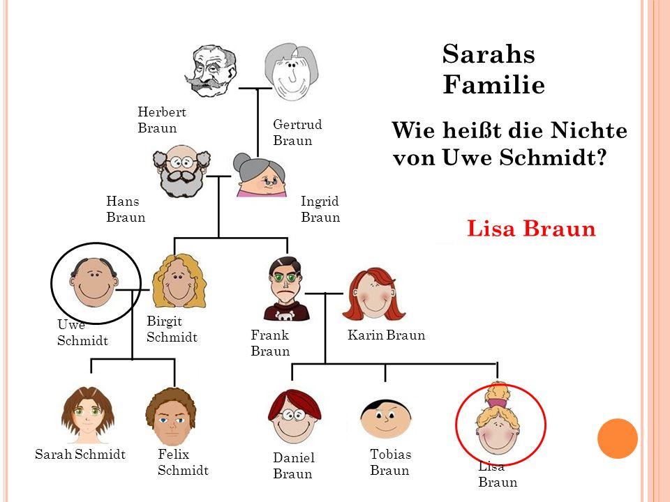 Sarahs Familie Wie heißt die Nichte von Uwe Schmidt Lisa Braun