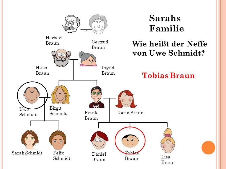 Sarahs Familie Wie heißt der Neffe von Uwe Schmidt Tobias Braun