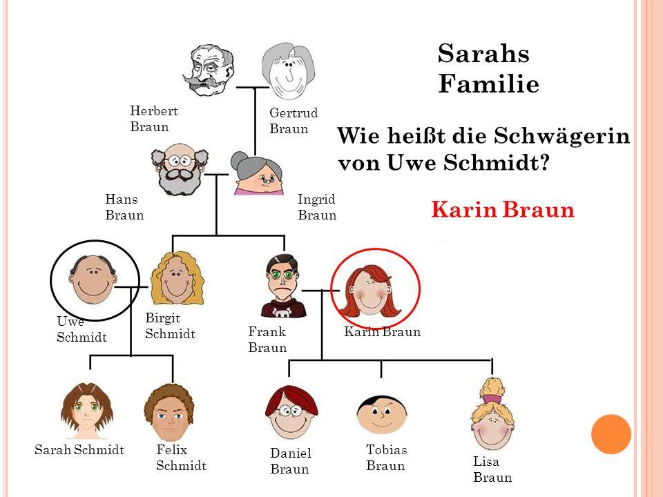 Sarahs Familie Wie heißt die Schwägerin von Uwe Schmidt Karin Braun