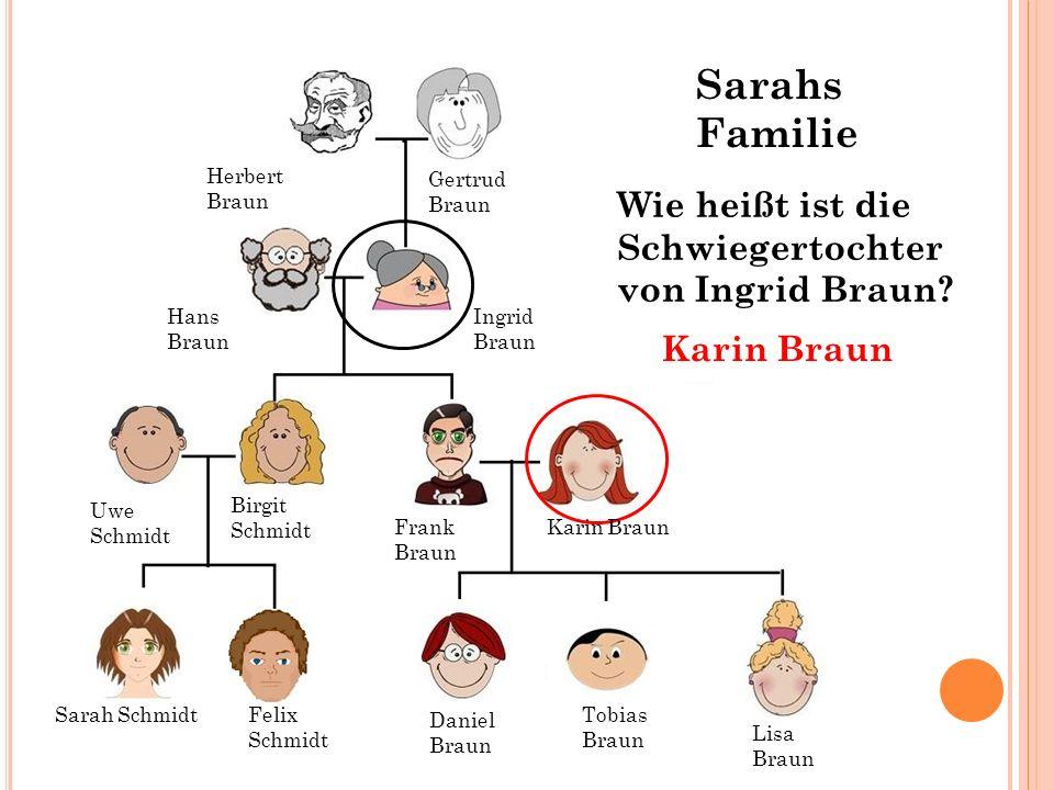 Sarahs Familie Wie heißt ist die Schwiegertochter von Ingrid Braun