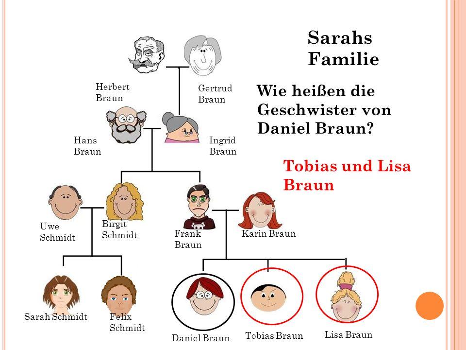 Sarahs Familie Wie heißen die Geschwister von Daniel Braun