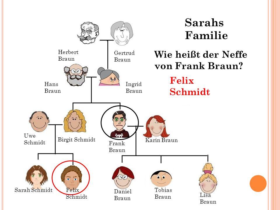 Sarahs Familie Wie heißt der Neffe von Frank Braun Felix Schmidt