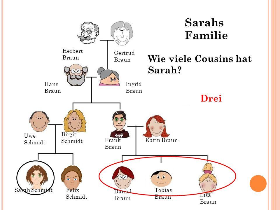 Sarahs Familie Wie viele Cousins hat Sarah Drei Herbert Braun Gertrud