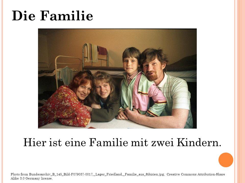 Hier ist eine Familie mit zwei Kindern.