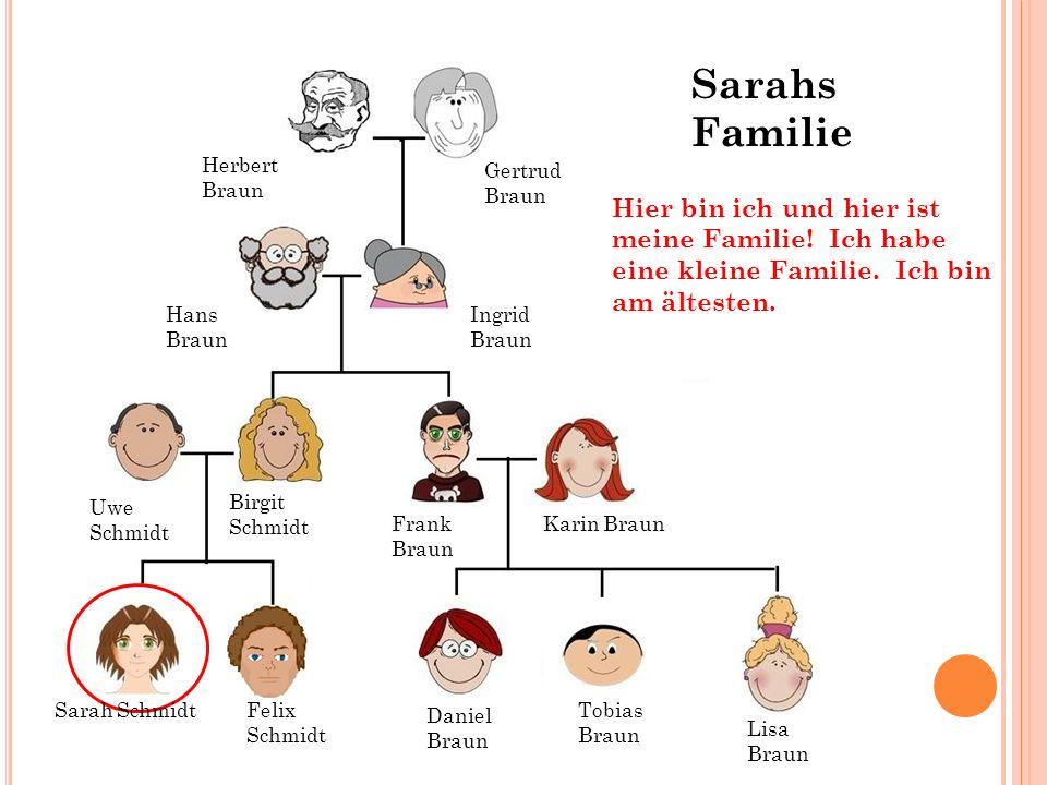 Sarahs Familie Herbert Braun. Gertrud. Braun. Hier bin ich und hier ist meine Familie! Ich habe eine kleine Familie. Ich bin am ältesten.