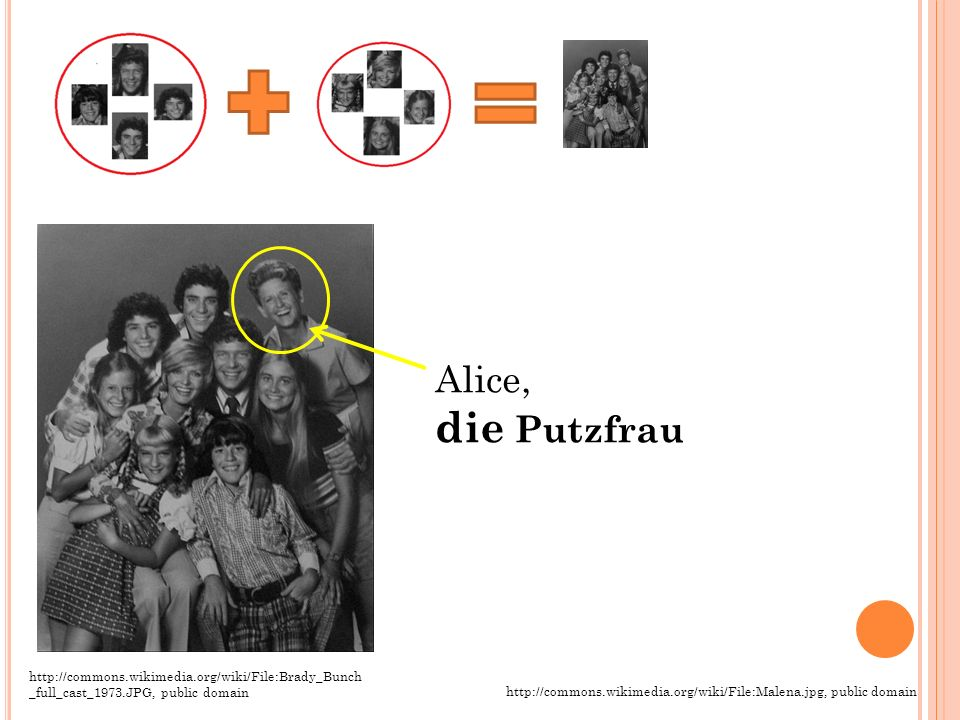 Alice, die Putzfrau. http://commons.wikimedia.org/wiki/File:Brady_Bunch_full_cast_1973.JPG, public domain.