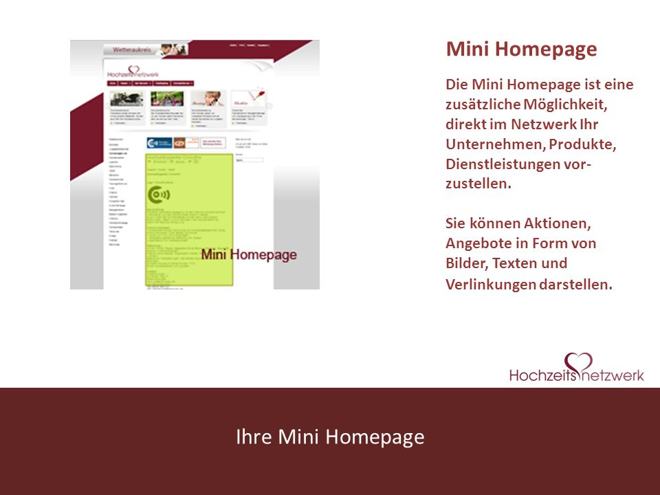 Mini Homepage Ihre Mini Homepage