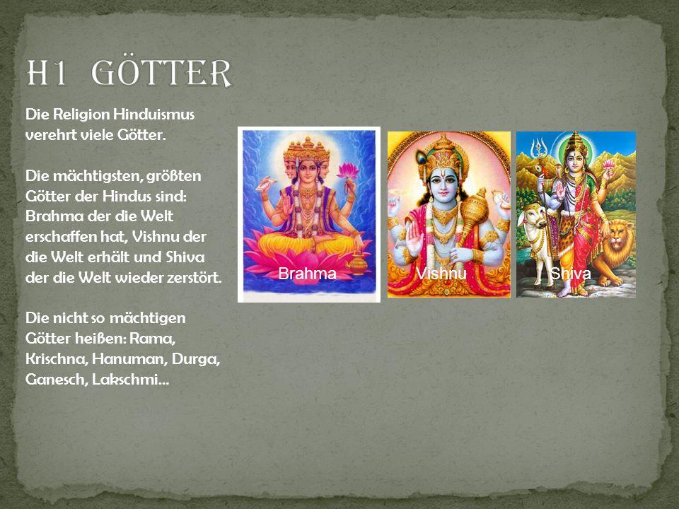 H1 Götter Die Religion Hinduismus verehrt viele Götter.