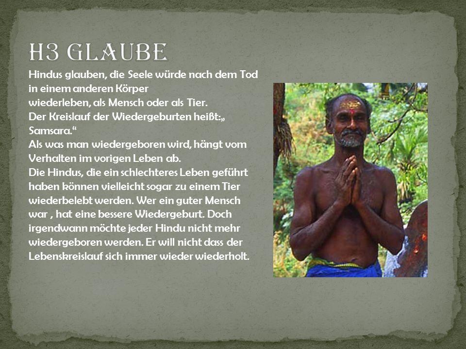 H3 Glaube Hindus glauben, die Seele würde nach dem Tod in einem anderen Körper. wiederleben, als Mensch oder als Tier.
