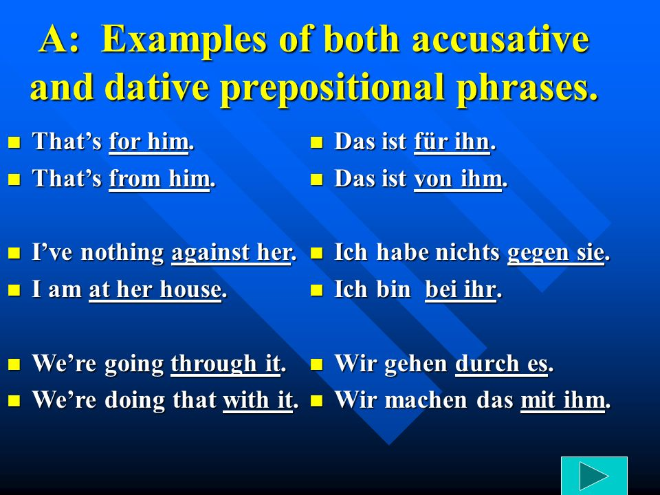A: Examples of both accusative and dative prepositional phrases.