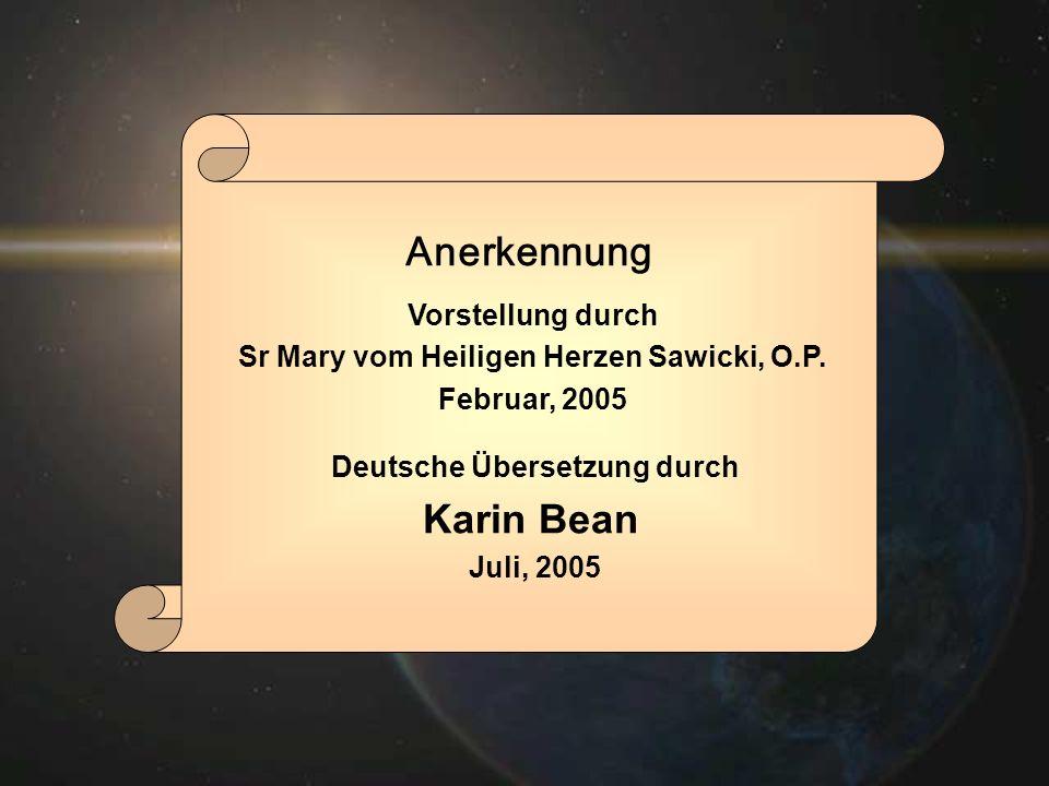 Sr Mary vom Heiligen Herzen Sawicki, O.P. Deutsche Übersetzung durch