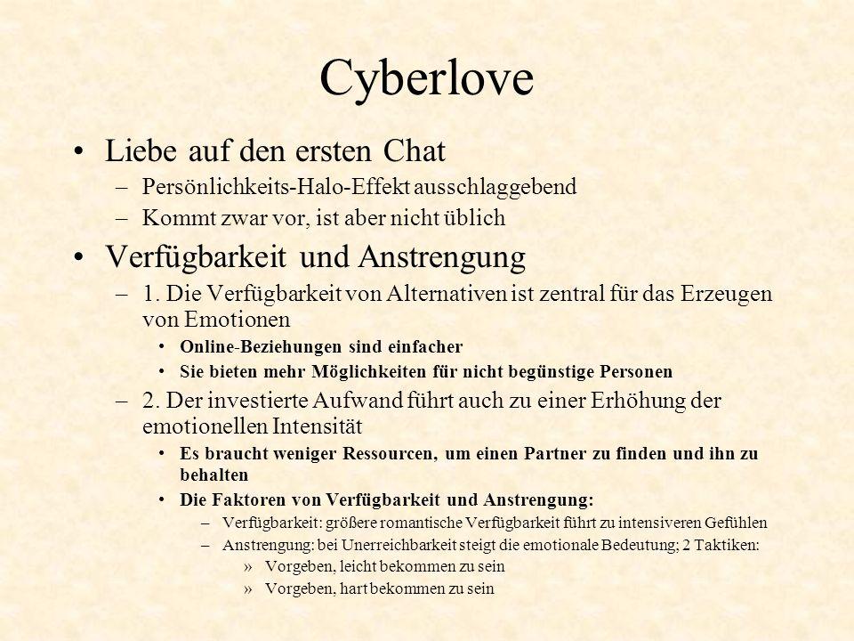 Cyberlove Liebe auf den ersten Chat Verfügbarkeit und Anstrengung