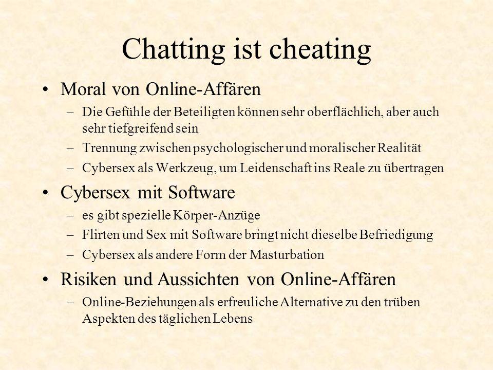 Chatting ist cheating Moral von Online-Affären Cybersex mit Software
