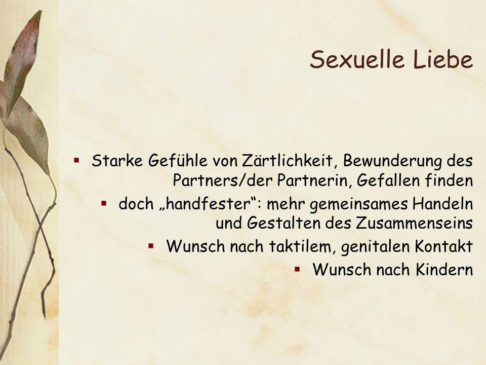 Sexuelle Liebe Starke Gefühle von Zärtlichkeit, Bewunderung des Partners/der Partnerin, Gefallen finden.