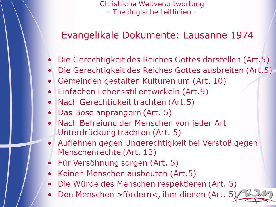 Evangelikale Dokumente: Lausanne 1974