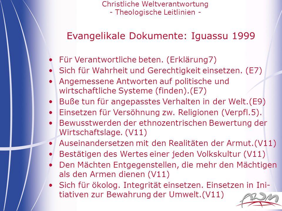 Evangelikale Dokumente: Iguassu 1999