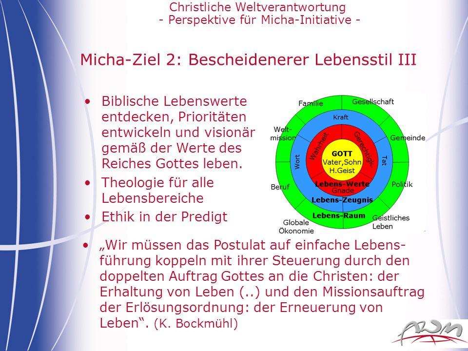 Micha-Ziel 2: Bescheidenerer Lebensstil III