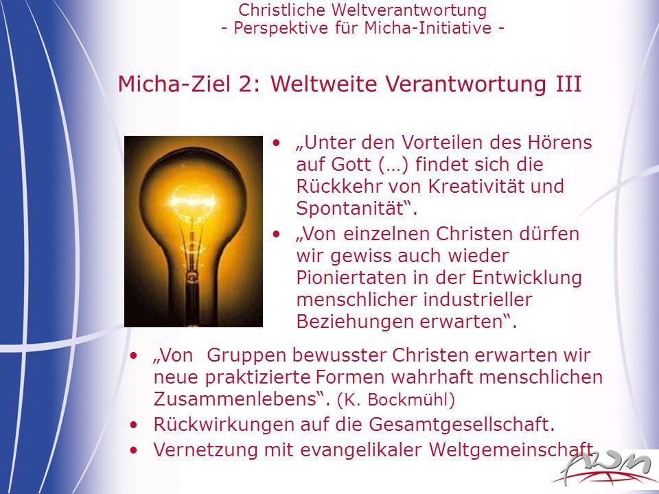Micha-Ziel 2: Weltweite Verantwortung III