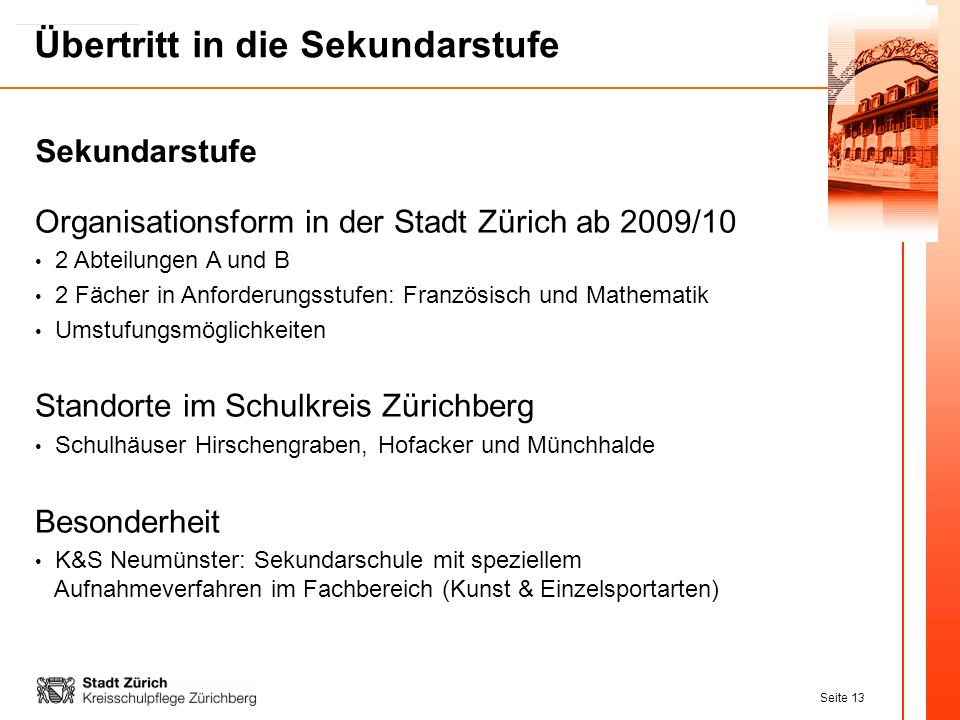 Organisationsform in der Stadt Zürich ab 2009/10