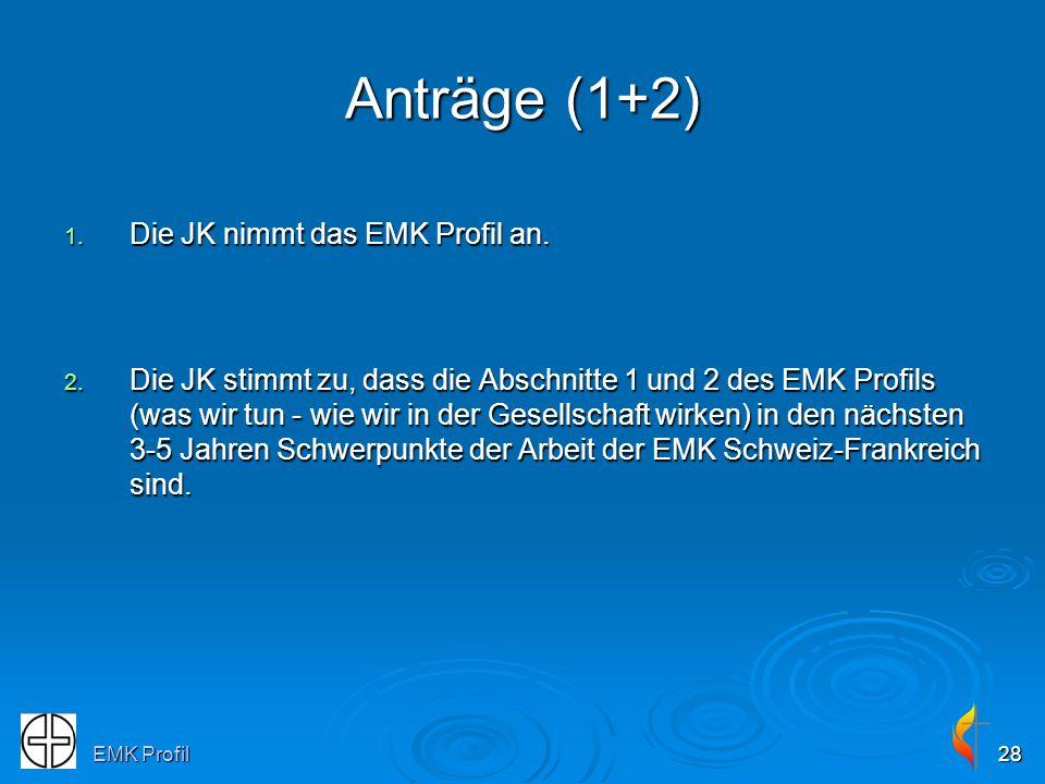 Anträge (1+2) Die JK nimmt das EMK Profil an.