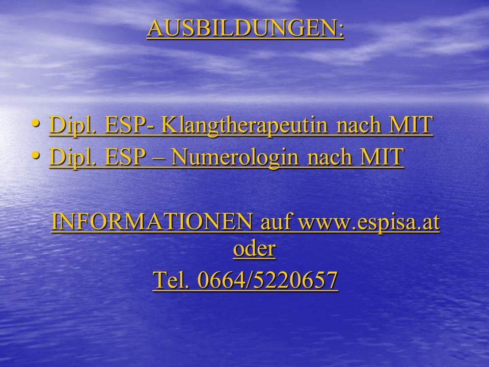 INFORMATIONEN auf www.espisa.at oder