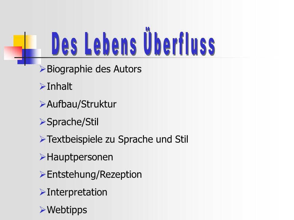 Des Lebens Überfluss Biographie des Autors Inhalt Aufbau/Struktur