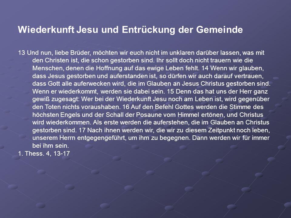 Wiederkunft Jesu und Entrückung der Gemeinde