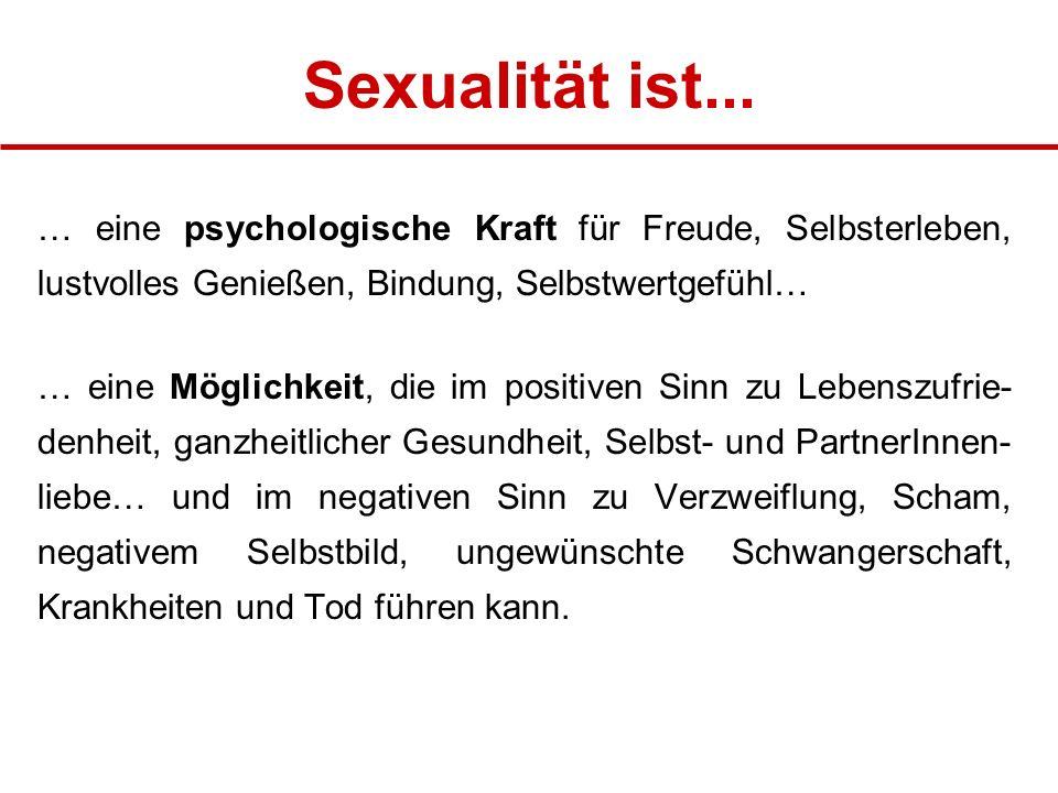 Sexualität ist... … eine psychologische Kraft für Freude, Selbsterleben, lustvolles Genießen, Bindung, Selbstwertgefühl…