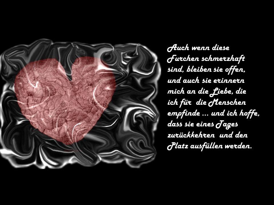 Auch wenn diese Furchen schmerzhaft. sind, bleiben sie offen, und auch sie erinnern. mich an die Liebe, die.